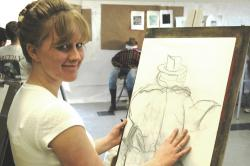 Fallon art student shows off her drawing.