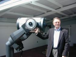 Robert Collier, Director, Jack C. Davis Observatory, show off one of the many telescopes available…