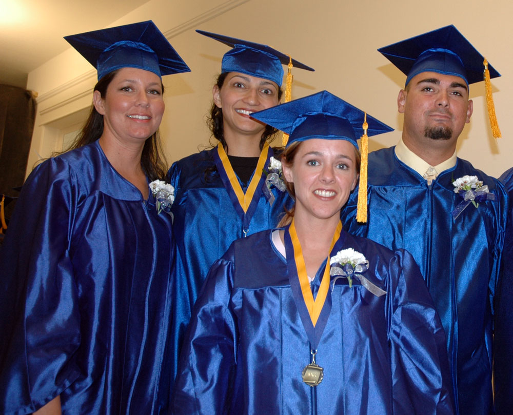 2006 nursing graduates include (L-R) Joy Talbott, Jenn Bodine, Kelly Blais, and Jeffrey Stanford.