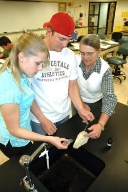 Students work in a Geology lab