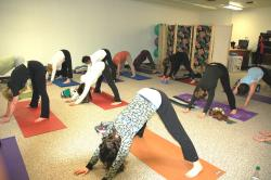 Yoga class is one of the many classes offered in recreation and physical education.