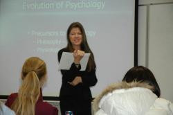 Dr. Lynda Mae teaches a psycology class in Fallon.