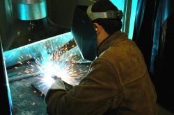 A student in a welding class