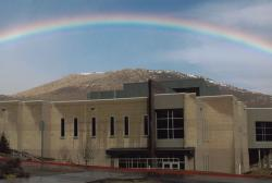 A rainbow over the Dini building at the Carson City campus.