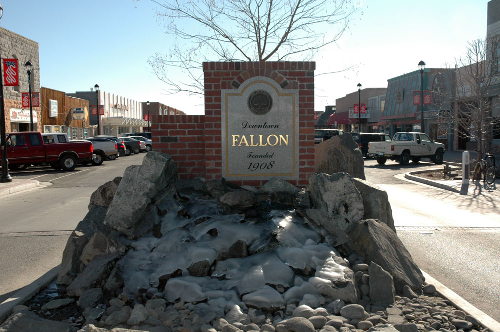 City of Fallon sign in downtown fallon.