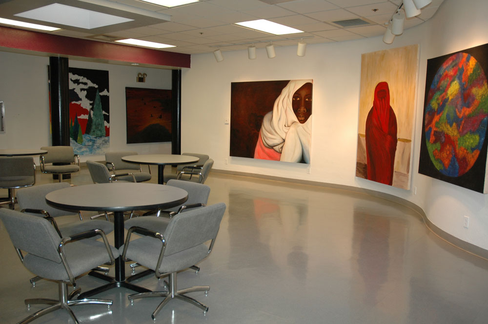 The art gallery and lounge area inside Virgil Getto Hall.