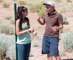 Isabel Flores and Professor Mike Sady on the Waterfall Trail