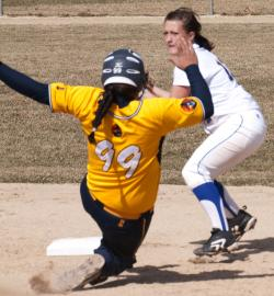 Niki DiSera capitalizes on a double play ball.