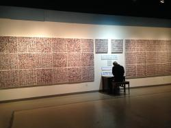 A viewer looks at the Wall of the Dead.