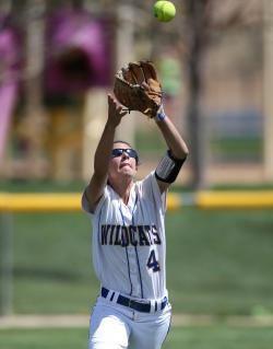 WNC center fielder Madi Gonzalez lines up an outfield fly Friday against North Idaho College.