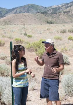 WNC Student Sara Flores and Professor Mike Sady research in the field.