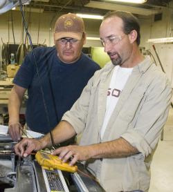 Student Tommy Lee and Instructor Randy Sharp in Fallon Auto Class