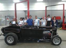 Auto Tech Students with Jason Spohr, left, and Linda Devon