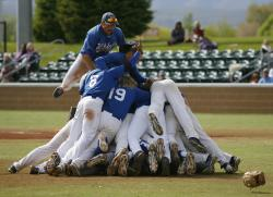 The Wildcats dogpile after winning the Region 18 Tournament championship on Saturday in West…