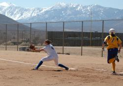 WNCs Ambar Huish makes the out at first base in Fridays opening contest.