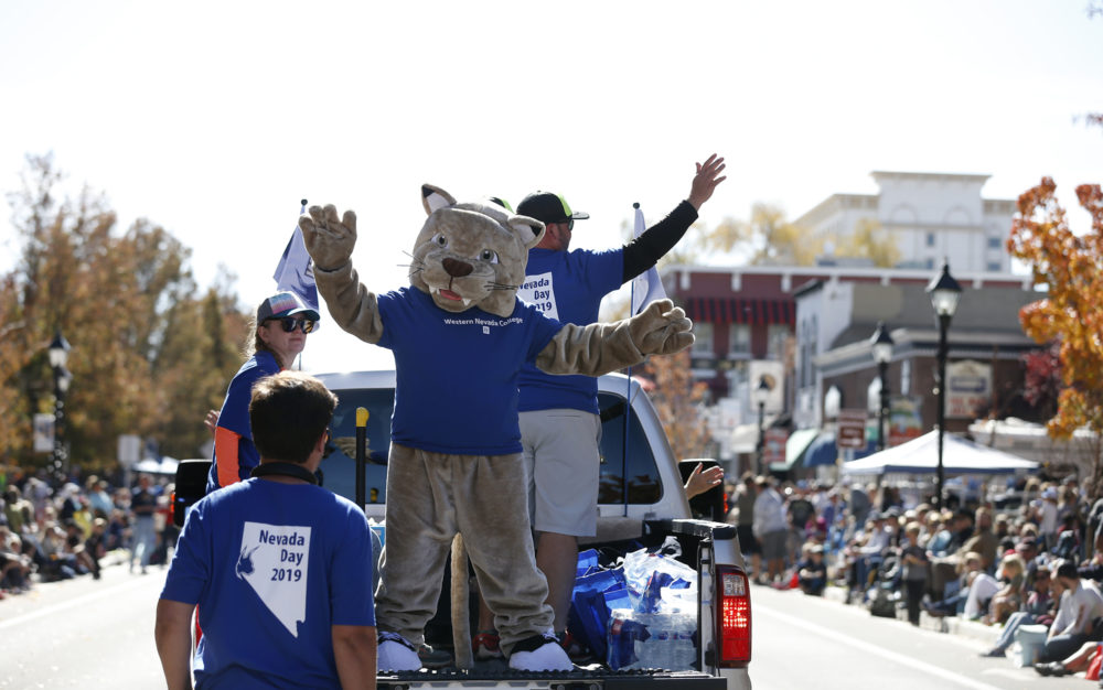 Western Nevada College representatives participate in the Nevada Day parade in Carson City, Nev., on Saturday, Oct. 26, 2019.   Photo by Cathleen Allison/Nevada Momentum